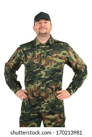 Proud man in military suit. Isolated on a white background.