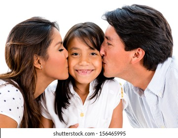 Proud parents kissing their daughter - isolated over white background