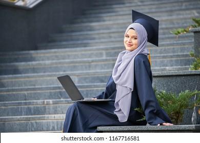 proud pretty girl graduation, holding diploma, happy concept
