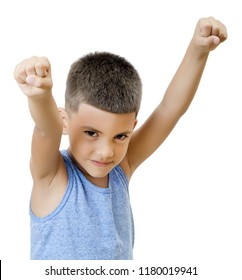 Proud and self-confident kid isolated on white.