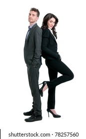 Proud successful business couple looking at camera isolated on white background