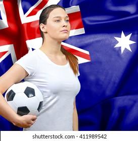 Proud woman football fan of Australia