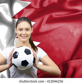 Proud woman football fan of Bahrain