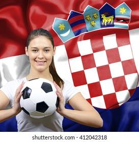Proud woman football fan of Croatia