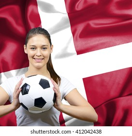 Proud woman football fan of Denmark