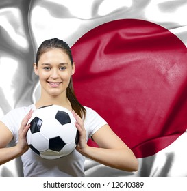 Proud woman football fan of Japan
