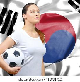 Proud woman football fan of South Korea