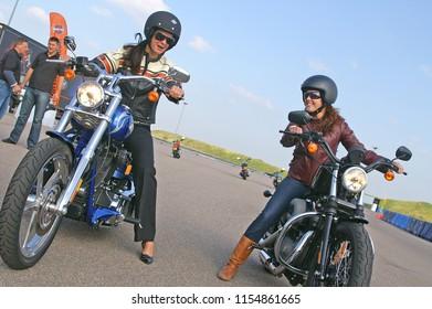 Proud women on Harley-Davidson motorbikes during the Women on wheels event, Zandvoort/Amsterdam/Netherlands - September 25 - 2008