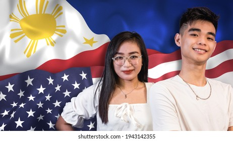 Proud and young Filipino Americans, 18-24 age range, with both Philippine and US flags as background. Possible dual citizen or 2nd generation national.