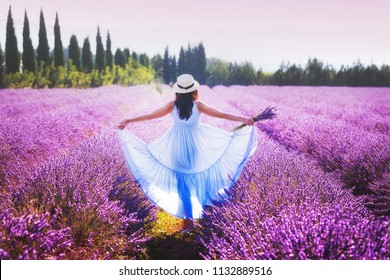 Provence, France. Beautiful young woman in a blue dress and straw hat walking between lavender. Provence, France.