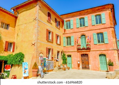 PROVENCE, FRANCE - JULY 20, 2016 - beautiful view of the colorful village of Roussillon in southern France