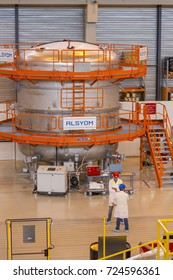 PROVENCE, FRANCE - JULY 31, 2017: Alsyom vacuum testing tank, ITER PF Coils Winding facility building, ITER, International Fusion Energy Organization.