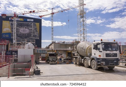 PROVENCE, FRANCE - JULY 31, 2017: ITER, International Fusion Energy Organization. Concrete mixer truck.