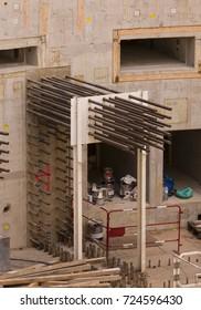 PROVENCE, FRANCE - JULY 31, 2017: ITER, International Fusion Energy Organization. Tokamak Complex under construction. Rebar, reinforcing steel.