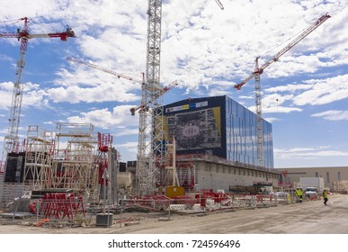 PROVENCE, FRANCE - JULY 31, 2017: ITER Assembly Building and construction cranes, International Fusion Energy Organization.