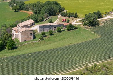 Provence, France - june 22, 2016: Aerial view of farm and farm fields in the vicinity of the village of Sault
