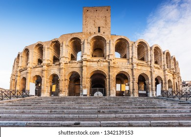 Provence, France.  Roman amphitheatre in the Old Town of Arles.