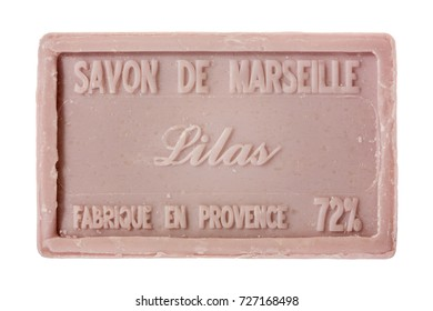 PROVENCE, FRANCE - SEPTEMBER 16, 2017: Marseille soap -  handmade natural soap with organic oils of flowers like lavender, lily or olives