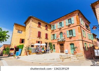 Provence, France. Traditional colorful houses in the Old Town of Roussillon.