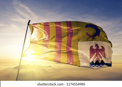 Provence-Alpes-Cote d'Azur PACA region of France flag textile cloth fabric waving on the top