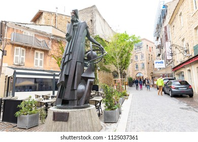 PROVENCE,FRANCE-APRIL 14,2018: Metal statue of michel de Nostradamus in Salon de Provence street