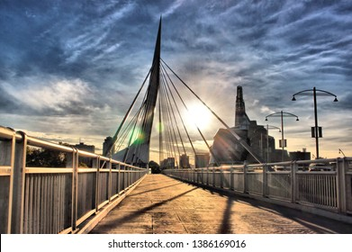 Provencher Bridge above the Red River, at The Forks, in Winnipeg, Manitoba, Canada.