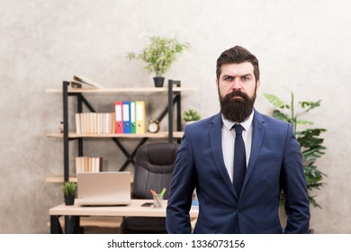 Provide consultation to management on strategic staffing plans. Office staff. HR director. HR management. HR job description. Head of human resources department. Man bearded serious office background.
