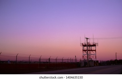 Providence Air Traffic Control ATC Tower at sunset