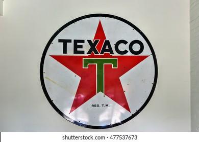 "Providence, Rhode Island - August 21, 2016: Texaco Sign. Texaco, Inc. (""The Texas Company"") is an American oil subsidiary of Chevron Corporation."