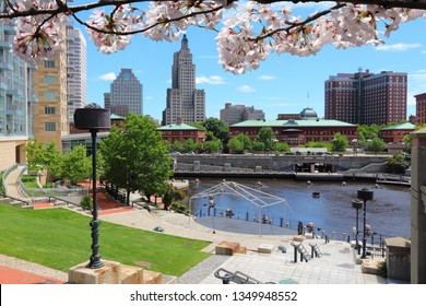 Providence, Rhode Island. City skyline. Spring time cherry blossoms.