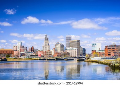 Providence, Rhode Island city skyline on the river.