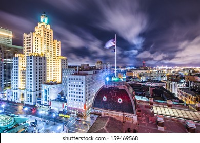 Providence, Rhode Island downtown cityscape viewed from behind city hall.