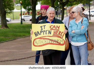 PROVIDENCE, RHODE ISLAND- JUNE 3, 2017: Anti Trump protesters speak and March for Truth in Providence, Rhode Island on June 3, 2017