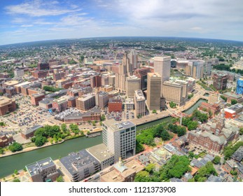 Providence, Rhode Island seen from above by an Aerial Drone in Summer