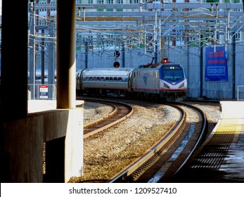 Providence, Rhode Island / United States - August 23rd 2018: Amtrak train pulls into Providence, RI Station