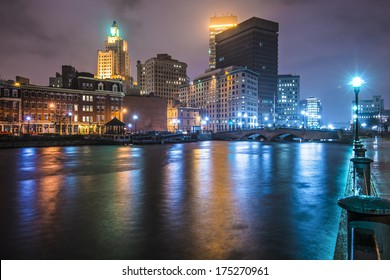 Providence, Rhode Island, USA downtown on the river.