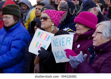 PROVIDENCE, RHODE ISLAND, USA- MARCH 5, 2017:  WE STAND TOGETHER.  Never Again Means Never Again. A multi-faith gathering at the Holocaust Memorial in Providence, Rhode Island on March 5, 2017