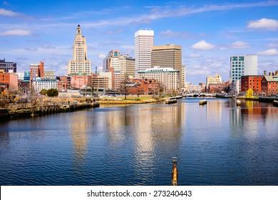 Providence, Rhode Island, USA skyline on the river.