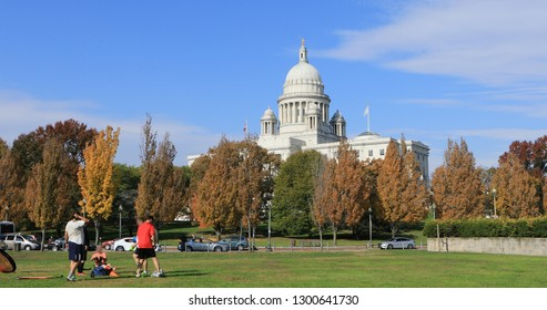PROVIDENCE, RHODE ISLAND/UNITED STATES- NOVEMBER 8, 2018: A View of Capital building in Providence, Rhode Island