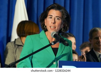 PROVIDENCE, RHODE ISLAND/USA- NOVEMBER 6, 2018: Rhode Island Governor, Gina Raimondo, celebrates her election victory with family and friends at The Providence Biltmore