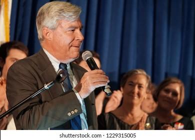 PROVIDENCE, RHODE ISLAND/USA-NOVEMBER 6, 2018: United States Senator Sheldon Whitehouse wins reelection to the United States Senate by an everwhelming majority