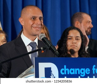 PROVIDENCE, RHODE ISLAND/USA-NOVEMBER 6, 2018: Democrat Providence Mayor, Jorge Elorza, celebrates his reelection victory at The Providence Biltmore Hotel
