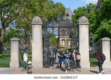 PROVIDENCE, RI/USA - SEPTEMBER 30, 2019:  John Nicholas Brown Gates and unidentified individuals on the campus of Brown University.