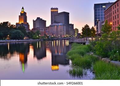 Providence skyline and river, Rhode Island, USA