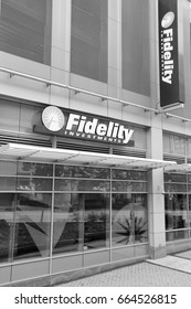 PROVIDENCE, USA - JUNE 8, 2013: Exterior of Fidelity Investments branch in Providence. Fidelity Investments is a financial services corporation with 1.7 trillion US dollars in assets under managment.