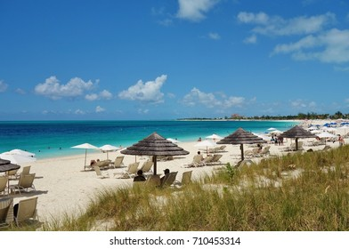 PROVIDENCIALES, TURKS AND CAICOS -8 JUL 2017- Grace Bay Beach, a landmark azure beach in Provo in the Turks and Caicos islands, is considered one of the most beautiful beaches in the world.