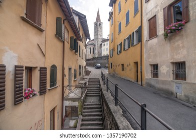 Province of Belluno, Veneto region, Eastern Dolomites, northern Italy - August 22, 2007: Colorful and picturesque buildings in the city of Belluno