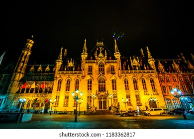The Province Court (Provinciaal Hof), a Neogothical building on the market place in Bruges (Brugge), Belgium