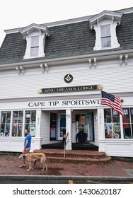 Provincetown, MA - June 11, 2019: King Hiram's Masonic Lodge  is the oldest continuously operating institution in town and occupies the third floor of this building with Cape Tip Sportswear below.