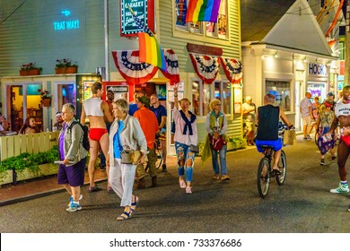 Provincetown Massachusetts USA August 2017 at the end of Cape Cod Provincetown has a large gay population of residents and tourists.